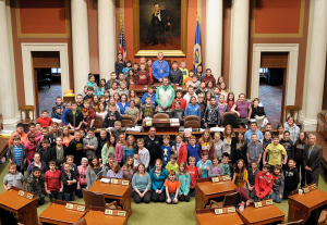 Forest Lake Elementary students pose for a photo on the House Floor